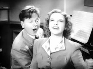 Cropped screenshot of Mickey Rooney and Judy G...