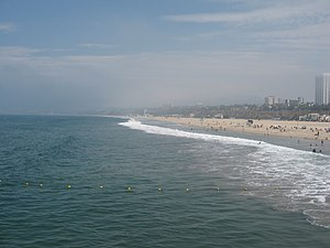 Santa Monica State Beach and bay - from Santa ...