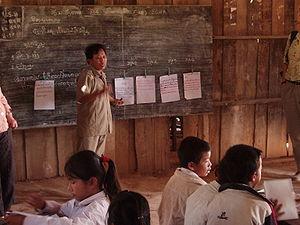 Teacher in primary school in northern Laos