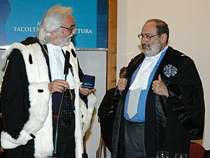English: Umberto Eco receives the honoris caus...