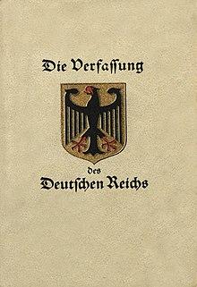Resultado de imagen para Fotos de la nueva Constitución del Reich.