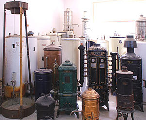 A picture of antiquated Water Heaters