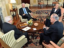 Netanyahu, Hillary Clinton, George J. Mitchell and Mahmoud Abbas at the start of the direct talks, 2 September 2010