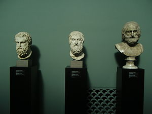 English: Greek busts of Aeschylus, Sophocles a...