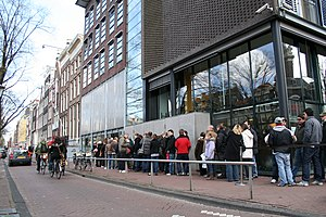 A photograph taken of the Anne Frank Museum in...