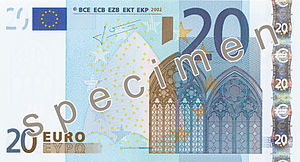 English: Obverse side of the €20 banknote