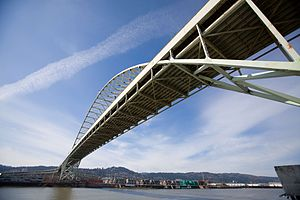 The Fremont Bridge in Portland, Oregon from th...