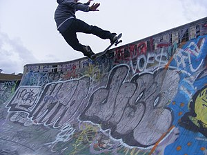 English: A photograph of the skateboarding tri...