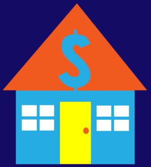 illustration clip art of house with dollar sig...