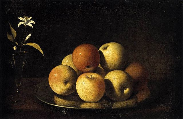 Still Life with plate of apples and orange blossoms