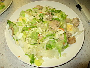 Salad with chicken and boiled egg