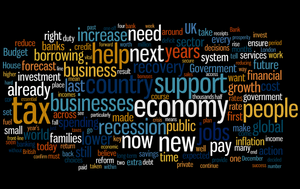 English: A tag cloud of the 2010 UK Budget Sta...