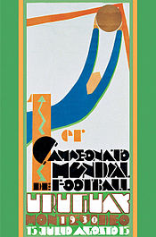 """Poster in Art Deco style, depicting a simplified figure of a goalkeeper making a save in its upper half. The lower half contains writing in a heavily stylised font: """"1er Campeonato Mundial de Futbol"""" in black, and """"Uruguay 1930 Montevideo 15 Julio Agosto 15"""" in white and orange."""