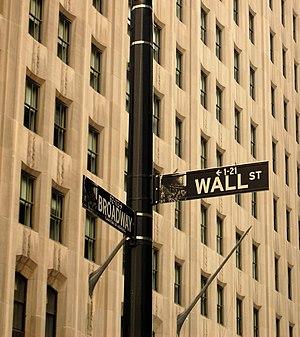 English: The corner of Wall Street and Broadwa...