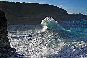 A crashing wave, Atlantic ocean,