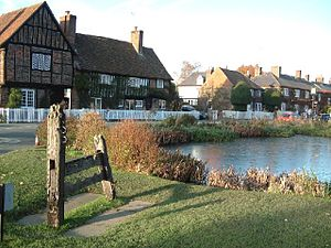 The duckpond and stocks at Aldbury