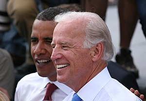 Joe Biden und Barack Obama in Springfield, Ill...