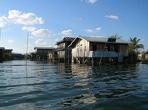 English: An entire village on stilts, Inle Lak...