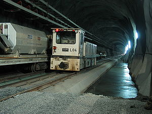 Eastern tube in the Gotthard Base Tunnel at th...