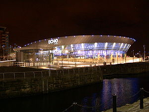 The Echo Arena Liverpool, at night