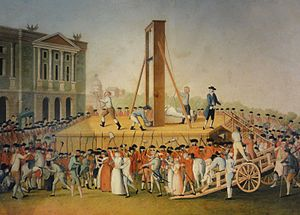 Marie Antoinette's execution in 1793 at the Pl...