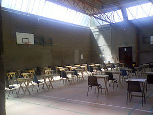 A typical Junior Certificate exam hall.