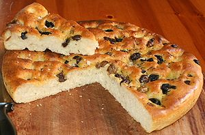 En: My homemade Focaccia with Olives, Rosemary...