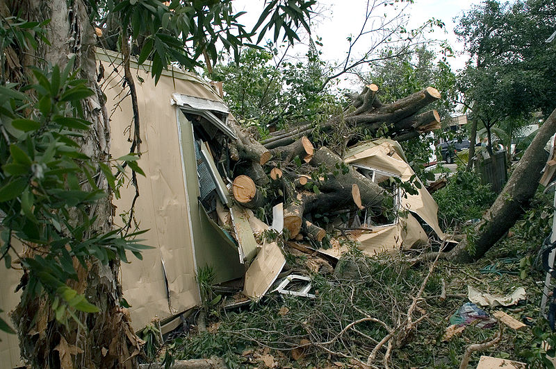 Hurricane damage to mobile home in Davie Florida.jpg