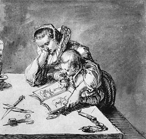 Woman and Child looking at a Picture Book