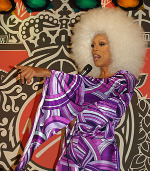 RuPaul at a party for the launch of her Starrb...