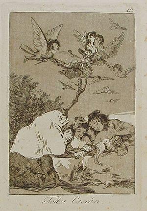 Capricho nº 19: Todos caerán de Goya, serie Lo...