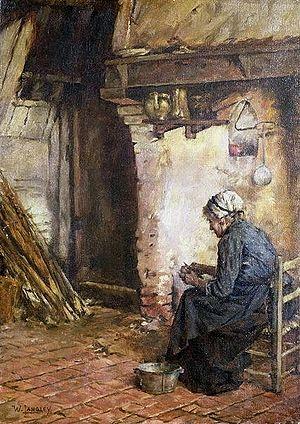 Old Woman Peeling Potatoes