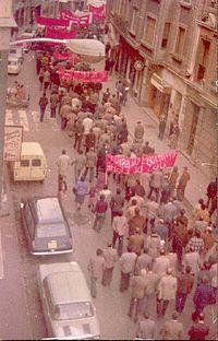 Manifestación del Primero de Mayo en Éibar, Guipúzcoa País Vasco (España) (año 1978).