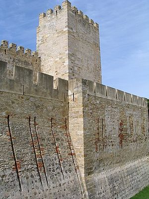 Castle barbican (low wall in the foreground) i...