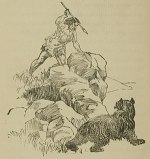 """A hunter attacking a brown bear."""
