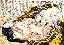 The Dream of the Fisherman's Wife por Hokusai es una representación artistica de una fantasia sexual.