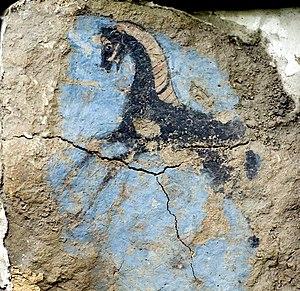 Old Urartian Fresco in Erebuni Museum, Armenia.