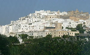 The village of Ostuni in the Puglia region fro...