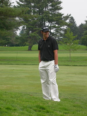 Aaron Baddeley waiting to hit his second shot ...