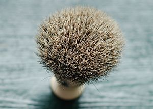 The hairy end of a Best Badger brush.