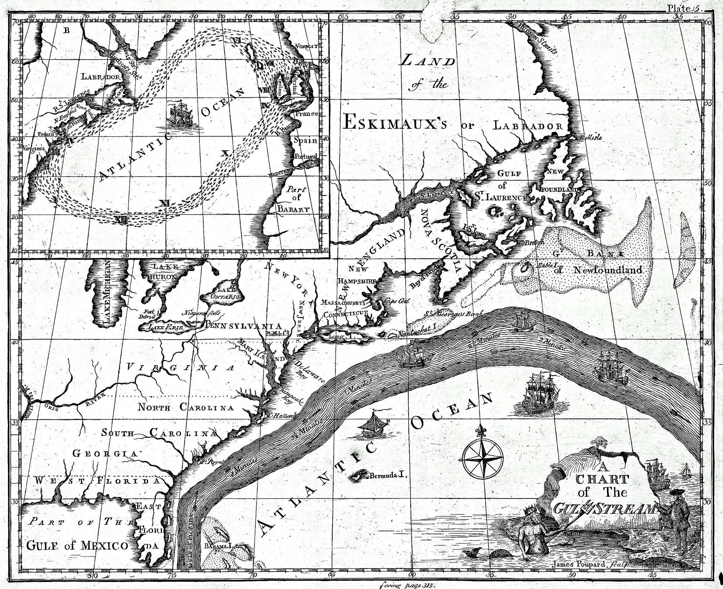 Benjamin Franklin's map of the Gulf Stream