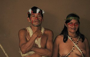 Man and woman from Huaorani village. Photograp...