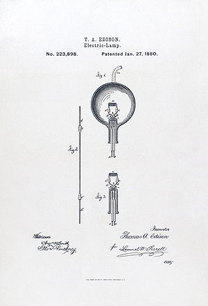 English: Light bulb patent application. Photol...