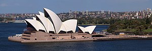 The famous Opera House of Sydney, here as pano...