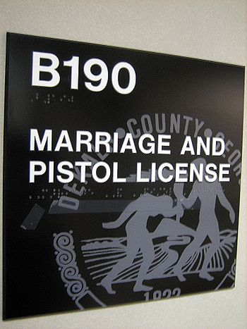 """MARRIAGE AND PISTOL LICENSE"" office..."