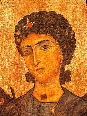The detail of a medieval icon featuring Archan...