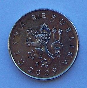 CZK 1 coin.
