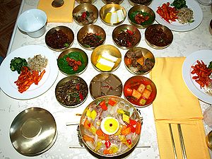 North Korean cuisine   Wikipedia Dishes at Tongil restaurant in Kaesong