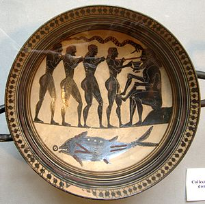 Odysseus and his men blinding Polyphemus, Laco...