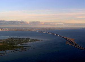 Oresund Bridge from Denmark to Sweden. On the ...